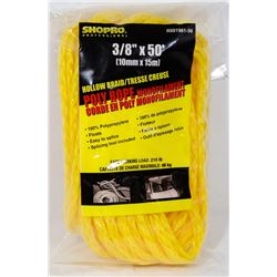 "NEW! HOLLOW BRAID POLY ROPE 3/8"" x 50'"