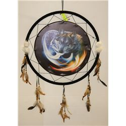 "NEW WOLF LARGE DREAMCATCHER 24"" WIDE"