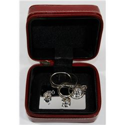 SILVER & CRYSTAL EARRING & NECKLACE SET.