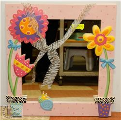 "23""X25"" CHILDS HANGING FLOWER MIRROR."