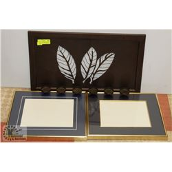 BROWN LEAF CANDLE HOLDER & TWO 13X15 GOLD FRAMES