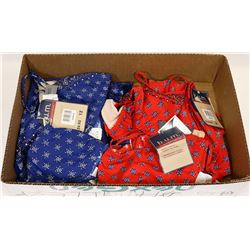 BOX WITH 2 NEW BIKINI SETS - 1 BLUE & 1 RED,