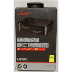 ROCKETFISH 2 OUTPUT HDMI SPLITTER 4K ULTRA