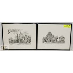 PAIR OF FRAMED QUEBEC PEN DRAWN PICTURES BY MARE
