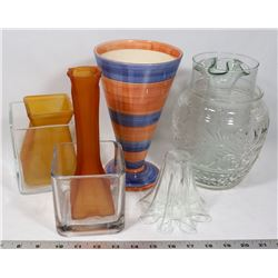 9 ASSORTED VASES VARIOUS SIZES & COLOURS