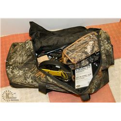 CAMO DUFFLE BAG WITH ASSORTED ITEMS INCL FISHING