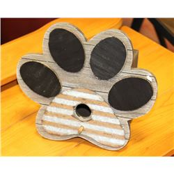 NEW MEDIUM SIZED WOOD LIKE DOG PAW PRINT