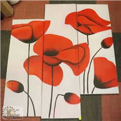 3PC FLOWER WALL ART