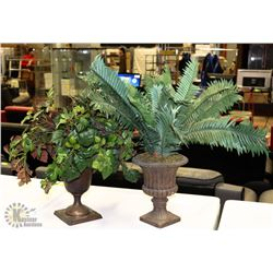 SET OF 2 TABLE/SHELF SILK PLANTS IN POTS