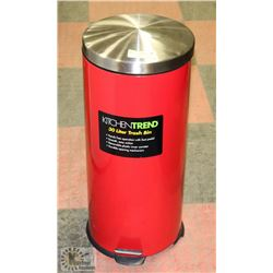 RED 30L ROUND METAL STEP ON GARBAGE CAN