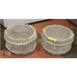 "LOT OF 2 CONCRETE FLOWER POTS 10"" WIDE"