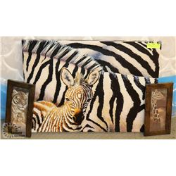 "ZEBRA CANVAS PICTURE 27.5""X20"" WITH 2 SMALLER"