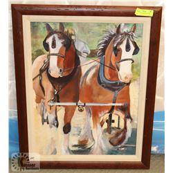 """HORSES OIL ON CANVAS 23""""X29"""""""