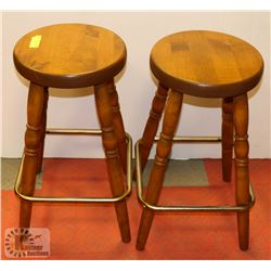 LOT OF 2 SOLID WOOD STOOLS.