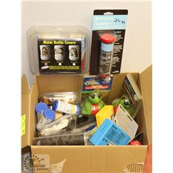 BOX OF BOTTLE COVERS, THERMOSTATS FOR HOT TUBS