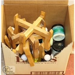 BOX OF SMALL CROCK STANDS/SPA FRAGRANCES
