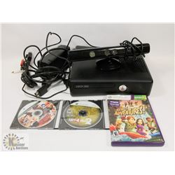 XBOX 360 CONSOLE WITH CABLES, KINECT, 3 GAMES