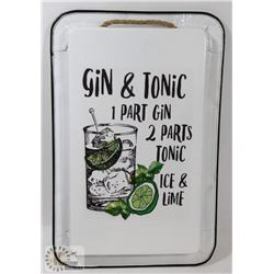 NEW GIN & TONIC METAL PAN WALL HANGING