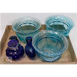 FLAT OF VINTAGE BLUE GLASS