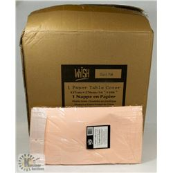 CASE OF 30 LIGHT PINK TISSUE TOP TABLECLOTHS