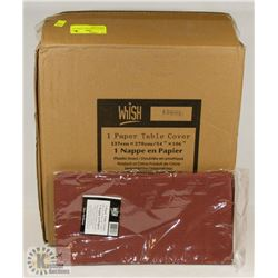 CASE OF 30 BURGUNDY TISSUE TOP TABLECLOTHS