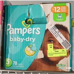 BOX OF 78 PAMPERS BABY DRY SIZE 5 DIAPERS.