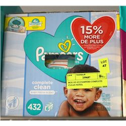 BOX OF 432 PAMPERS COMPLETE CLEAN WIPES.