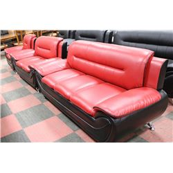 THREE PC RED AND BLACK LEATHERETTE