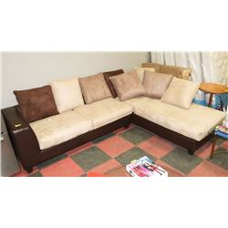 "NEW MICROFIBER LARGE MULTITONE SECTIONAL, 117""X92"""