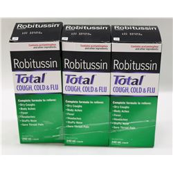 LOT OF 3 ROBITUSSIN 240ML TOTAL COUGH, COLD & FLU