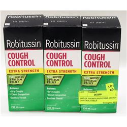 LOT OF 3 ROBITUSSIN 250ML COUGH CONTROL SYRUP
