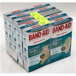 10 BOXES OF ASST BANDAID HYDRO SEAL BANDAGES