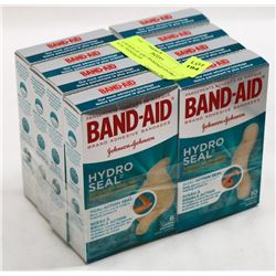8 BOXES OF ASST BANDAID HYDRO SEAL BANDAGES