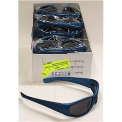 BOX OF BLUE FRAME BLACK LENSE DESIGNER SUNGLASSES