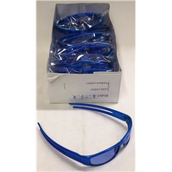BOX OF BLUE FRAME BLUE LENSE DESIGNER SUNGLASSES