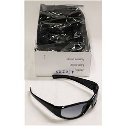 BOX OF BLACK FRAME BLACK LENSE DESIGNER SUNGLASSES