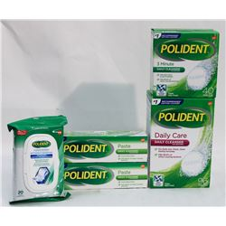 BAG OF ASSORTED POLIDENT PRODUCTS