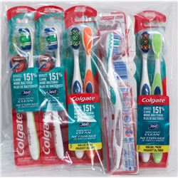 BAG OF ASSORTED COLGATE TOOTH BRUSHES