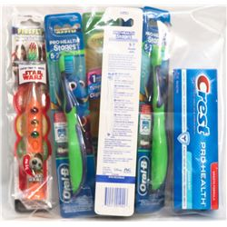 BAG OF ASSORTED KIDS TOOTHBRUSHES AND CREST