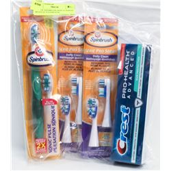 BAG OF SPINBRUSH, REPLACEMENT HEADS & TOOTHPASTE