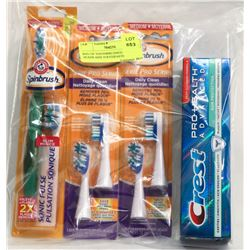 BAG OF TOOTHBRUSHES, BRUSH HEADS AND TOOTHPASTE
