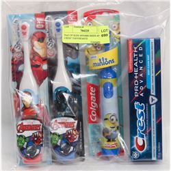 BAG OF KIDS SPINBRUSHES AND CREST TOOTHPASTE