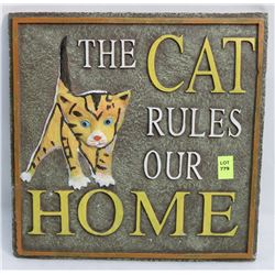 THE CAT RULES OUR HOME WALL PLAQUE