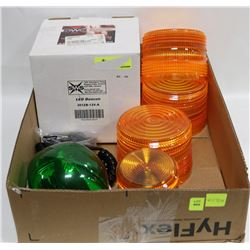 SAFETY LIGHT LOT: INCLUDES 2 BEACONS AND 3 COVERS