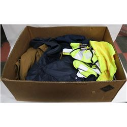 LOT OF 3 HI-VIS SAFETY VESTS, HOODS, & CHAINSAW