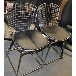 PAIR OF NEW METAL AND LEATHERETTE BAR STOOLS