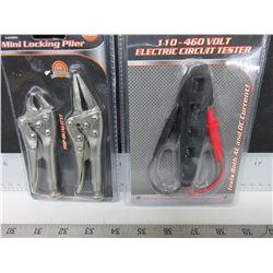 New 2 piece Mini Vise Grips & Electric Circuit Tester 110 - 460 volt