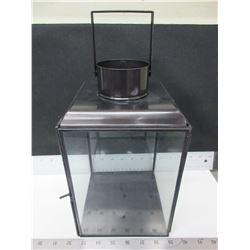 New Bronze Metal and glass Hurricane Lantern 7 x 7 x 11