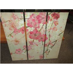"3 piece Canvas set / Flowers  12"" x 36 each"