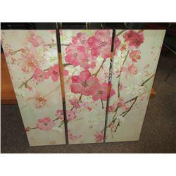 """3 piece Canvas set / Flowers  12"""" x 36 each"""